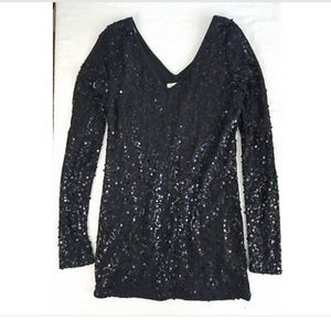 VANITY Black Dressb  LBD Small Sequin Long Sleeve
